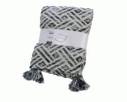 Decke Weiß/farbe(n) mit Muster und Quasten