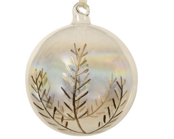 Baumschmuck Glaskugeln Goldgravur Blatt