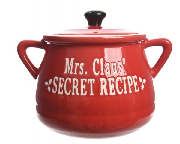 """Ofenform mit Deckel klein """"Mrs. Claus secret recipe"""""""