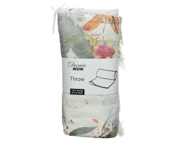 Baumwoll Decke Blumen mit Quasten
