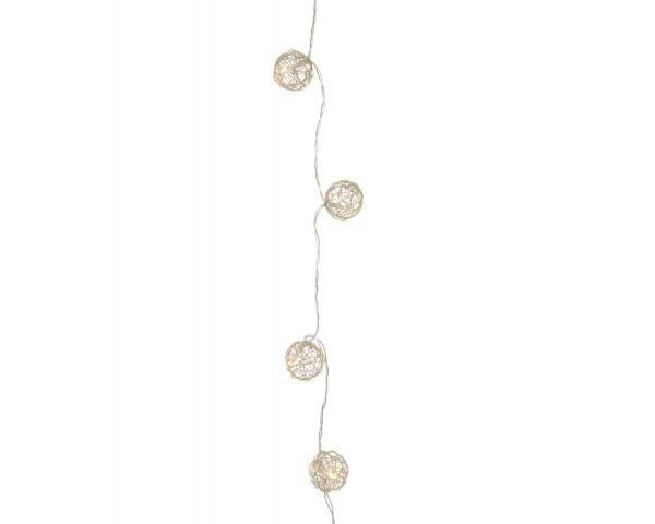 Indoor Lichterkette Metallkugeln warmes Weiß 135cm-10L