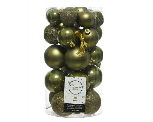 Weihnachtsbaumkugelmix bruchfest Moosgrün