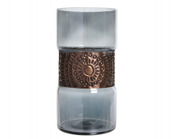 Windlicht Glas mit Metall groß