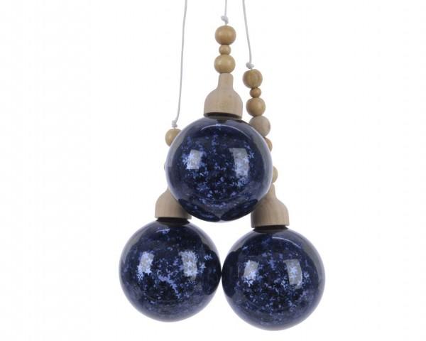 Hängedekoration Glaskugelbündel mit Glitzer Nachtblau