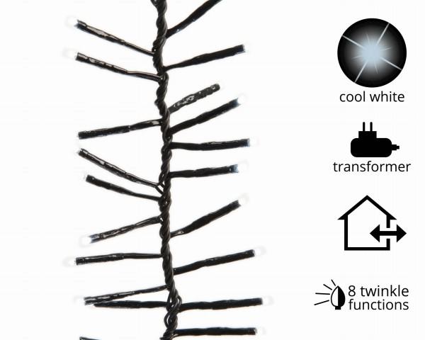Outdoor Gruppenlichterkette (Cluster) funkelnd schwarz/kaltWeiß 6m-768L Appsteuerung