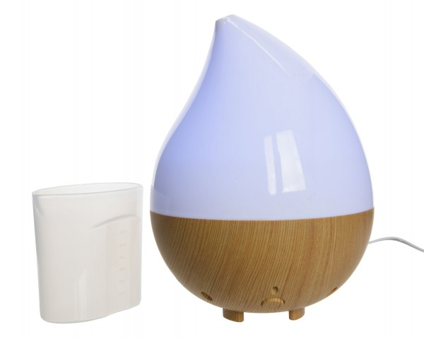 Duft Diffusor Holzoptik und Glas mit LED farbwechsel