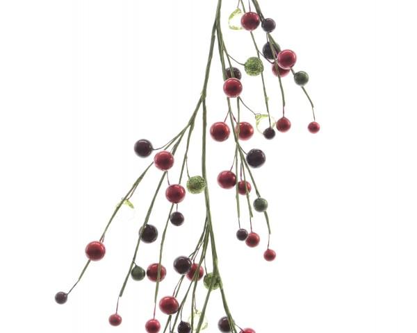 Zweig mit Beeren und Perlen und Glitzer lang