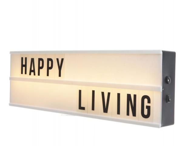 Lightbox 5,5 x 50 x 15 cm mit 2 Zeilen warmes Weiß
