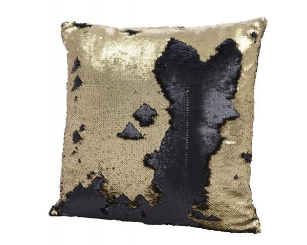 Kissen mit Pailletten gold / schwarz