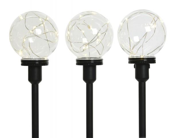 Outdoor Kugelset Mikro LEDs 3er schwarz/warmes Weiß 40cm-3L