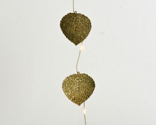 Indoor Lichterkette mit goldenen Blättern gold/klassisch warm 390cm-40L