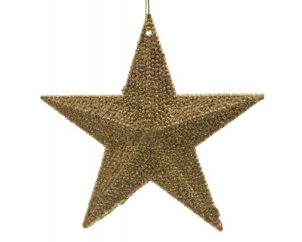 Hängedekoration Stern gold mit Glitzer