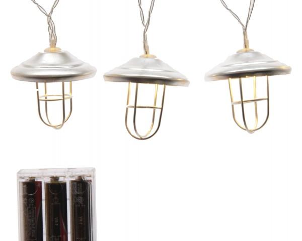 LED Metall Laternenstrang Batterie innen