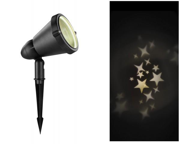 Outdoor LED Projektor Sterne mit Timer warmes Weiß
